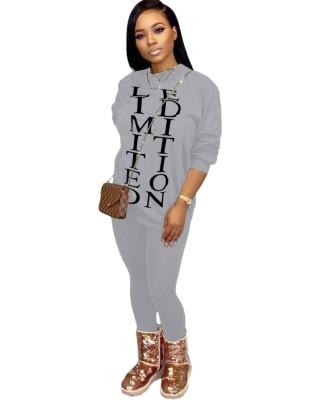 Conjunto de pantalón y camisa a juego con estampado de letras casual de otoño