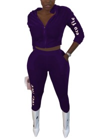 Trainingspak met fluwelen hoodie met herfstletterprint
