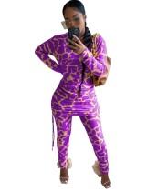 Herbst Casual Leopardenmuster Matching Strings Shirt und Hosen Set