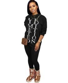 Herfst casual letterprint bijpassende set van overhemd en broek