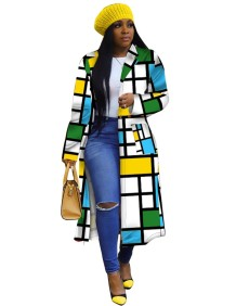 Geommetric Colorful African Long Coat with Full Sleeves