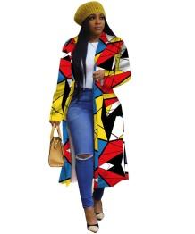Abrigo largo africano colorido geométrico con mangas completas