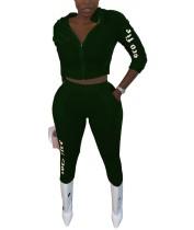 Herbst-Brief-Druck-Samt-Hoodie-Trainingsanzug