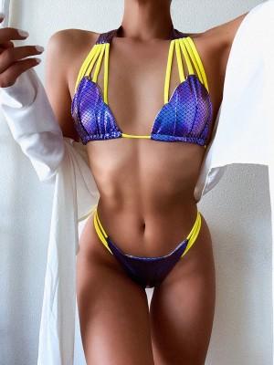 Costumi da bagno sexy in due pezzi con stampa a sirena