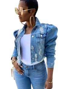 Jaqueta curta jeans rasgada azul outono