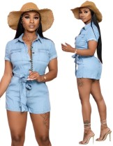 Short Sleeve Light Blue Button Up Casual Rompers
