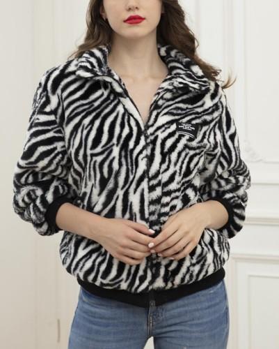 Winter Zebra Print Zip Up Plush Jacket