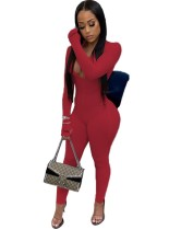 Herbst Sport Fitness Solid Plain Zipper Jumpsuit