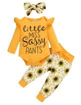 Set di pantaloni floreali autunnali per bambina 3PC