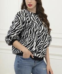 Winter Zebra Print Pullover Pluche Top