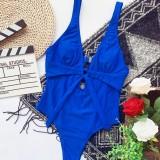 Sexy blauwe Deep-V badmode uit één stuk