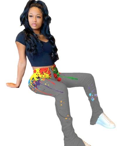 Africa leggings colorati con zip a vita alta