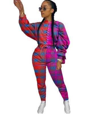 Conjunto de calça e blusa xadrez outono combinando com cordões