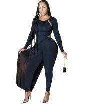 Chemise longue fendue noire d'automne avec legging assorti
