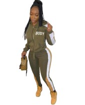 Letter Print Contrast Long Sleeve Hoody Tracksuit