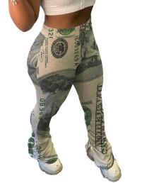 Africa Dollar Print hoge taille stapelbroek met split aan de zijkant