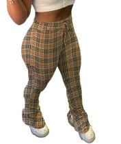 Africa Plaid Print High Waist Side Slit Stack Pants