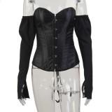 Haut corset sexy sans bretelles vintage avec manches