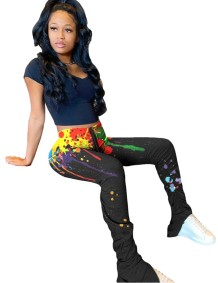 Africa leggings colorati con zip a vita alta