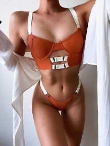 Simple Contrast Two Piece Push Up Swimwear