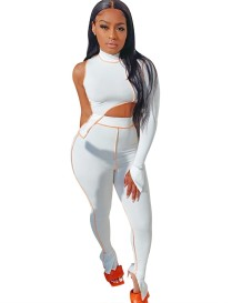 Herbst passendes sexy Single Sleeve Crop Top und High Waist Pants Set