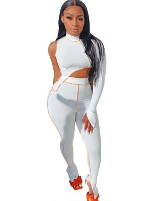 Conjunto de calça de cintura alta e top de manga única sexy de outono combinando