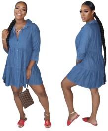 Vestido camisa jeans linha A azul de manga 3/4