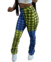 Pantalon empilé taille haute à carreaux Africa