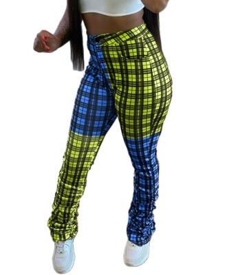 Africa High Waist Plaid Stack Pants