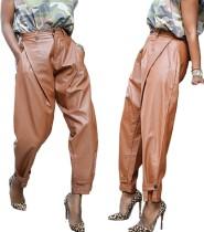 Pantalon en cuir PU taille haute Street Styles