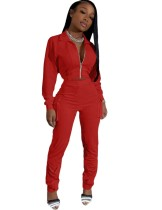 Long Sleeve Pocketed Solid Plain Tracksuit