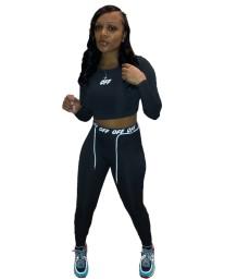 Conjunto de legging e top recortado com impressão de cartas de fitness outono esportes