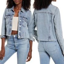 Autumn Blue Button Up Pocket Jeansjacke