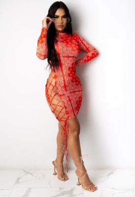 Sexy Print Red Lace Up Long Sleeve Bodycon Dress