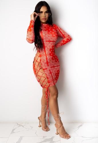 Sexy print rode bodycon jurk met veters en lange mouwen