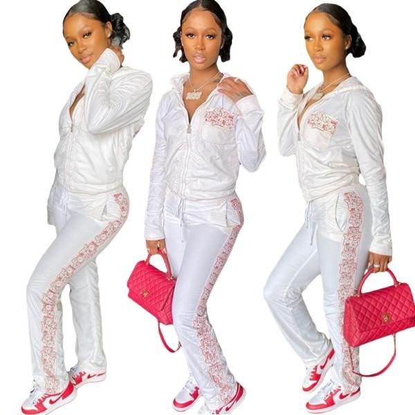 Tuta con cappuccio bianca con stampa a maniche lunghe autunnali