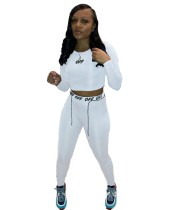 Autumn Sports Fitness Letter Print Crop Top and Legging Set