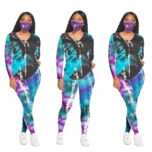Autumn Matching Tie Dye V-Neck Shirt and Pants Set with Face Cover