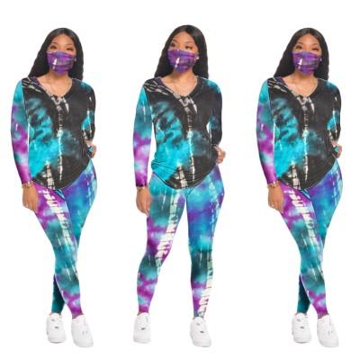 Conjunto de calças e camisa com decote em V de outono combinando com capa de rosto