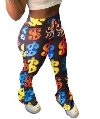 Pantalones apilados con aberturas laterales y cintura alta con estampado de dólar africano