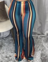 Africa Colorful Striped Sexy High Waist Flare Trousers