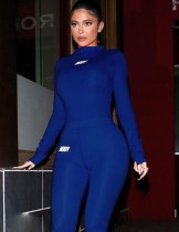 Herbst Sport Fitness Print Bodysuit und Legging Set