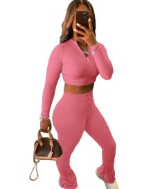 Autumn Solid Color Matching Crop Top and Stack Pants Set