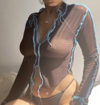 Sexy doorschijnend feestshirt met split aan de voorkant