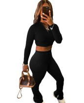 Autumn Solid Color Matching Crop Top und Stack Pants Set