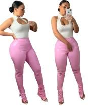 Leder Sexy High Waist Slit Bottom Hose