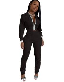 Autumn Blank Zip Crop Top and High Waist Pocket Trouser Set