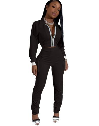 Conjunto de calça com bolso com cintura alta e zíper em branco outono