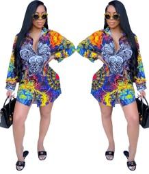 Vestido Blusa com Estampa Colorida África Manga Longa