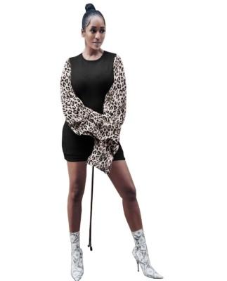 Vestido camisero ajustado con cuello redondo y mangas de leopardo de otoño